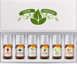 Fragrance Oils Set of 6 Scented Oils from Good Essential- Apple Oil, Chocolate Oil, Coconut Oil, French Vanilla Oil, Peach...
