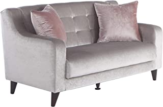 BELLONA Fashion & Function Living Room Furniture Blair Collection Sleeper Love Seat with Storage Deha Silver