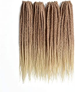 Leyoo Kanekalon Box Braid Crochet Hair 12 Inch (96 Roots/Box) Thin Box Braids Crochet Braids Hair Extension For Women (M 27/613)
