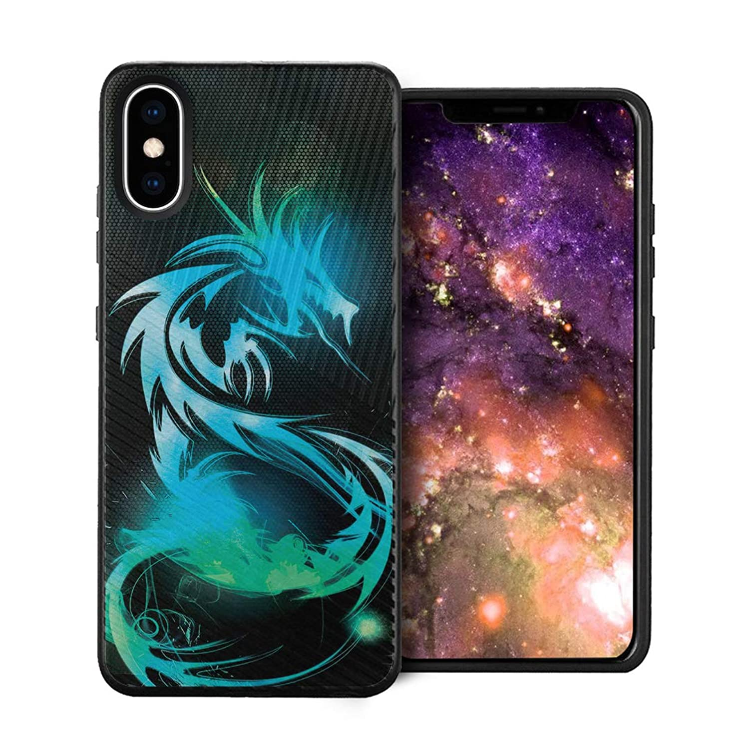 Capsule Case Compatible with iPhone Xs Max [Embossed Diagonal Lines Hybrid Dual Layer Slim Armor Black Case] for iPhone Xs Max - (Dragon)
