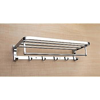 Garbnoire Deluxe Stainless Steel Folding Towel Rack | Towel Stand | Towel Hanger | Towel Holder | Rack Shelf | Bathroom Accessories for Washroom (18 INCH)