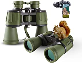 Image of 20x50 Hunting Binoculars for Adults with Smartphone Adapter 28mm Large Eyepiece HD Binoculars for Bird Watching Hiking Sightseeing Travel Opera Concert Games with BAK4 Prism FMC Lens, Army Green