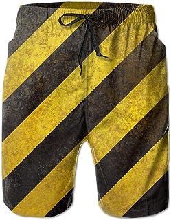 Yellow Black Striped Men's Shorts Swim Trunks Quick Dry Beach Surf Running Swim Trunks