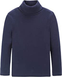 Boys Girls Turtleneck Long Sleeve Soft Cotton T-Shirts Solid Color Warm Tops