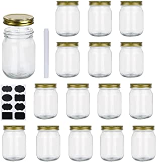 Encheng 16 oz Glass Jars With Lids,Wide Mouth Ball Mason Jars For Storage,Canning Jars For Pickles,Herb,Jelly,Jams,Honey,D...