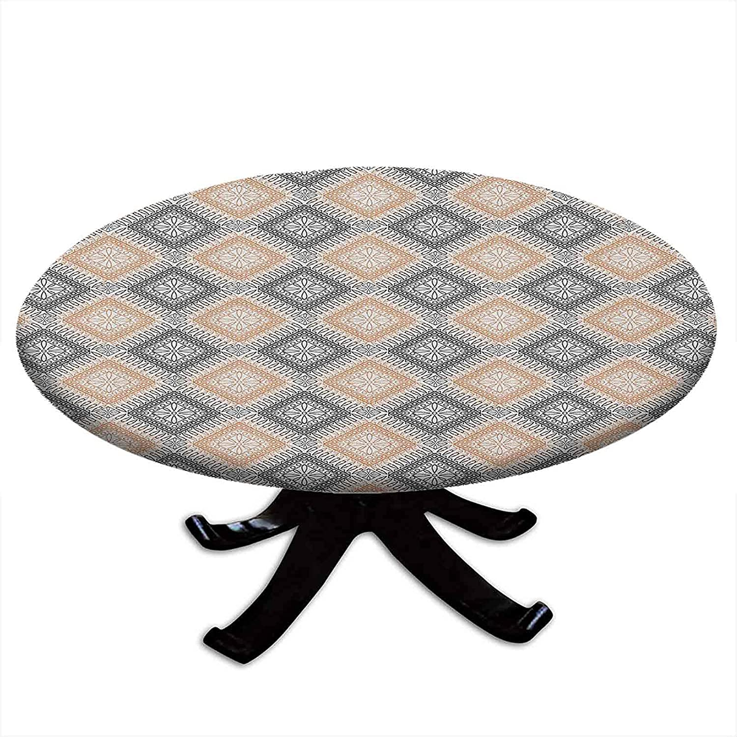 Round Tablecloth with Elastic Flower Edges Rhombus Bombing free shipping Pattern Philadelphia Mall