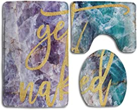 Beach Surfers Get Naked Gold Crystal Mineral Marble 3 Piece Bathroom Rug Mat Non-Slip Shower Bathroom Mat Contour Mat and Lid Cover Toilet Sets