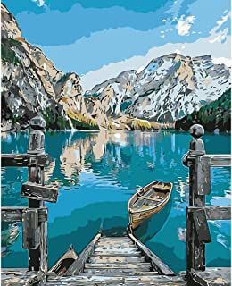 """BAISITE Paint by Numbers for Adults,DIY Canvas Oil Painting 16""""Wx20""""L Drawing Paintwork with Paintbrushes,Acrylic Pigment-Lakeside Boat 3303-2"""