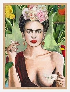 Artliving Frida Kahlo Smoke and Drink Canvas Print Poster for Home Decor Wall Decor Unframed 40X50 CM