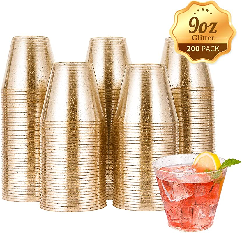 200pcs 9OZ Glitter Plastic Cups Disposable Gold Cups Clear Plastic Tumblers Gold Glitter Cups Disposable Cups For Wedding Party