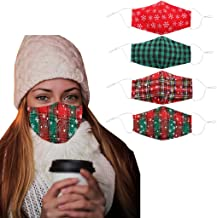 Christmas Face Mask Unisex Adults Reusable Snow Print Comfortable Breathable Cotton Merry Christmas Red and Green