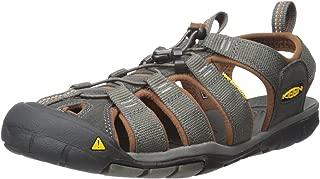 KEEN Australia Men's Clearwater CNX Leather Trekking Sandal, Dark Earth/Black