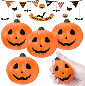 Halloween Squishy Toys, 4 Pcs Slow Rising Squishies Pumpkins Stress Relief Soft Halloween Toys for Kids Boys Girls Prizes Gifts Halloween Party Favors