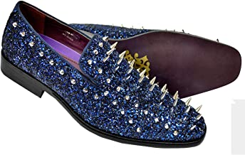 Antonio Cerrelli Glitter & Metal Spikes Loafer Smoking Loafer Shoes