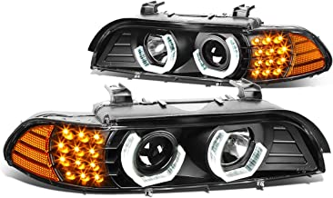 For BMW E39 5-Series 3D Crystal Halo Projector Headlight w/Amber LED Corner Lights (Black Housing)
