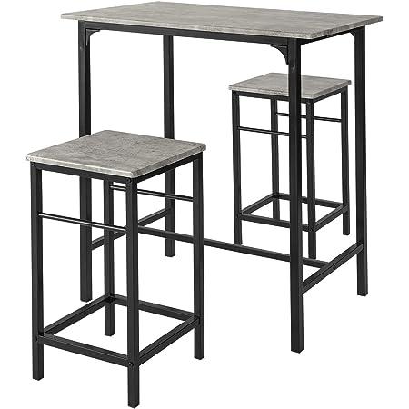 SoBuy® OGT10-HG Set de 1 Table + 2 Tabourets Table Mange-Debout Table Haute Cuisine Ensemble Table de Bar bistrot + 2 tabourets avec Repose-Pieds