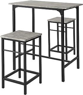 SoBuy® OGT10-HG Set de 1 Table + 2 Tabourets Table Mange-Debout Table Haute Cuisine Ensemble Table de Bar bistrot + 2 tabo...