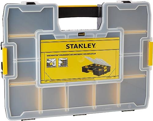 Stanley 1-94-745 Organiseur Sort master 17 Compartiments - 8 Intercalaire mobile - Couvercle Anti-mouvement - Clip La...