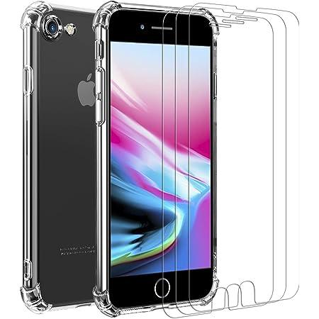 iVoler Custodia Cover per iPhone SE 2020 / iPhone SE 2 / iPhone 8 / iPhone 7 3 Pezzi Pellicola Vetro Temperato, Ultra Sottile Morbido TPU ...