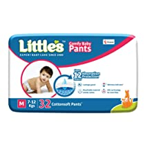 Little's Comfy Baby Pants Diapers with Wetness Indicator and 12 Hours Absorption|Medium|32 Count