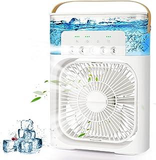 AILUKI Mini-airconditioner, 3-in-1 USB-verdampingsluchtkoeler, persoonlijke luchtbevochtiger met 7 kleuren led-licht, draa...