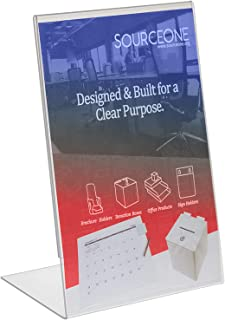 Source One Deluxe 11 Wide x 17 Tall Slant Back Clear Thick Acrylic Sign Holder - Brochure Holder