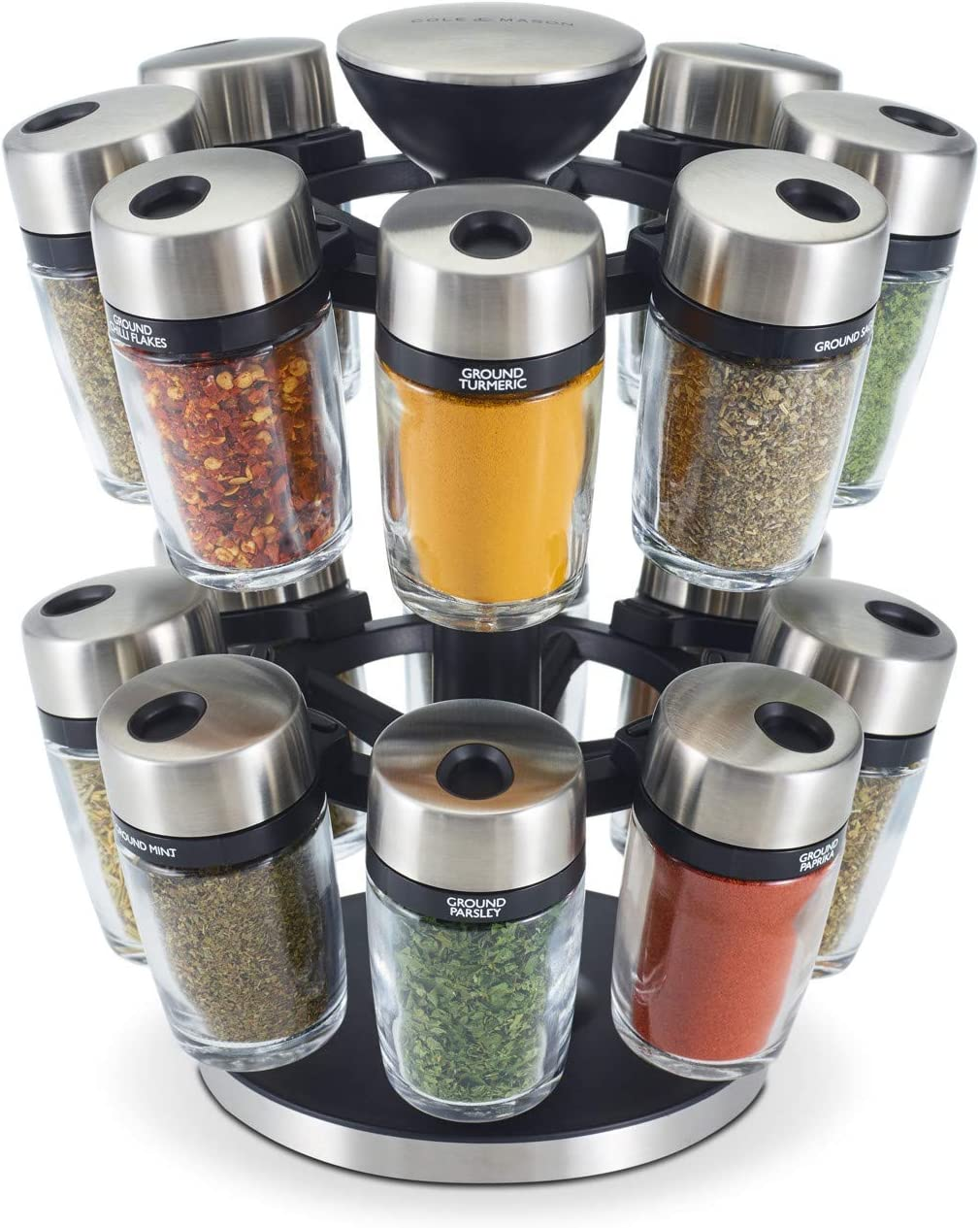 Cole Mason H121808U Super intense SALE Ranking TOP17 16 Jar Spice Carousel Medium Silv Herb
