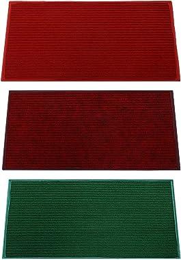 """Kuber Industries Microfiber Anti Slip 3 Pieces Door Mat 14""""x21""""(Red, Maroon & Green) -CTLTC11444"""
