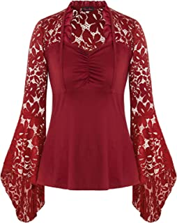 Women's Plus Size Vintage Gothic Lace Flare Sleeves T Shirt Tops Victorian Blouse