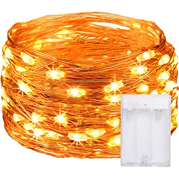 Ehome Fairy String Lights, Fairy Lights 3AA Battery Operated, 16.5ft 50LED Christmas Lights Copper Wire Lights Firefly Lights Moon Lights for Party Christmas Decorations (1)