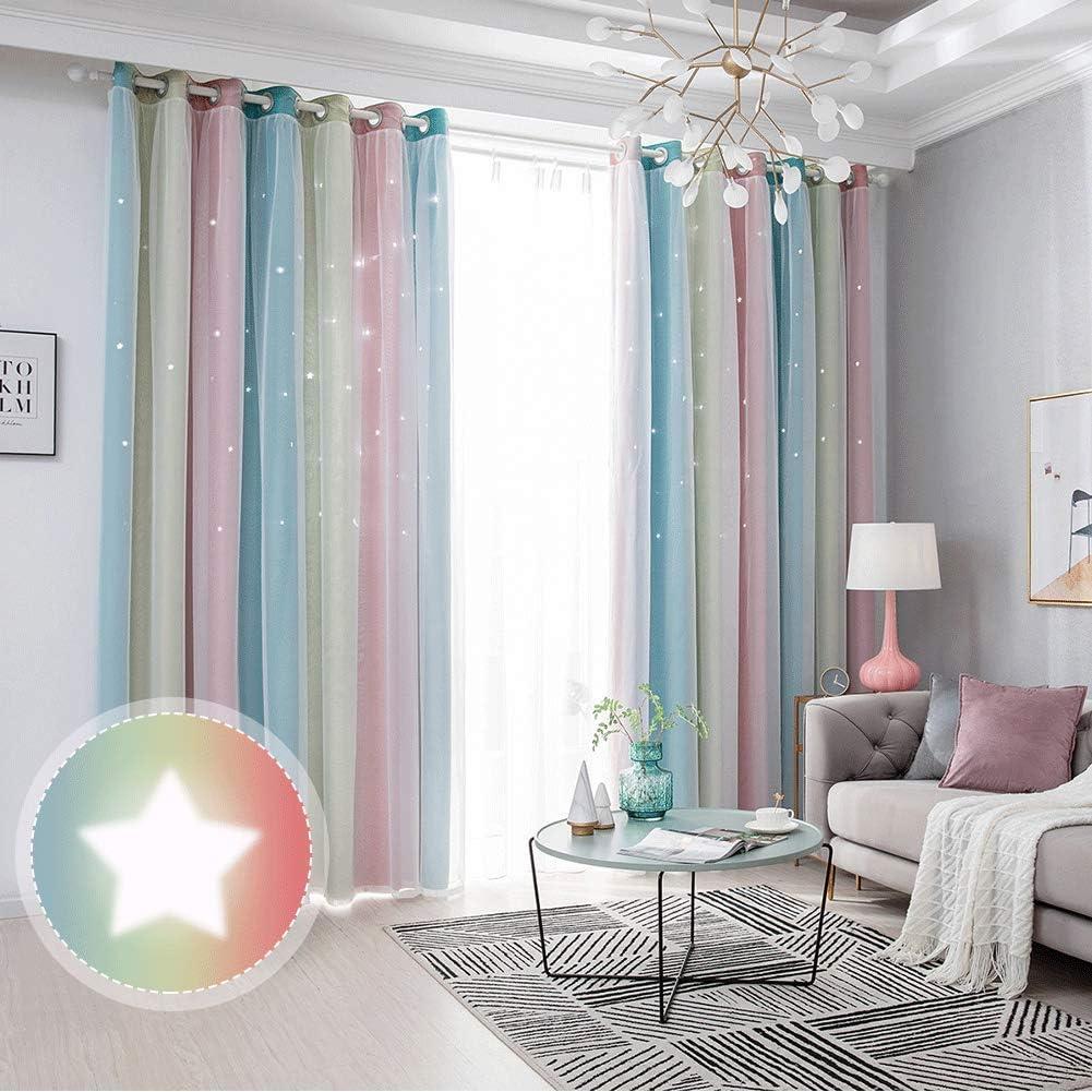 Curtains Girls Bedroom, ZEENEEK Rainbow Stripe Star Cut-Out Roma