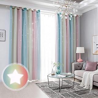 ZEENEEK Curtains Girls Bedroom, Rainbow Stripe Star...