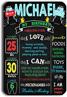 TJ Monster Truck Chalkboard Style Sign Boy Kids First Birthday Reusable Easy Clean Metal Tin Poster Banner Milestone 8'' x 12''- Customizable with Liquid Chalk Markers