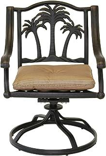 4c67755e74fa Palm Tree Outdoor Patio 4 Swivel Rocker Dining Chairs Dark Bronze Cast  Aluminum, Walnut Cushions