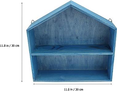 Yardwe House Shape Wooden Shadow Cubby Box Display Shelf Toy Organizer Blue Storage Shadow Box Wood Wall Storage Cabinet for