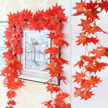 Rudra Fancy Store Orange Artificial Garlands Hanging Leaves Vine Creeper Plants for Home Decor Main Door Wall Balcony Offi...