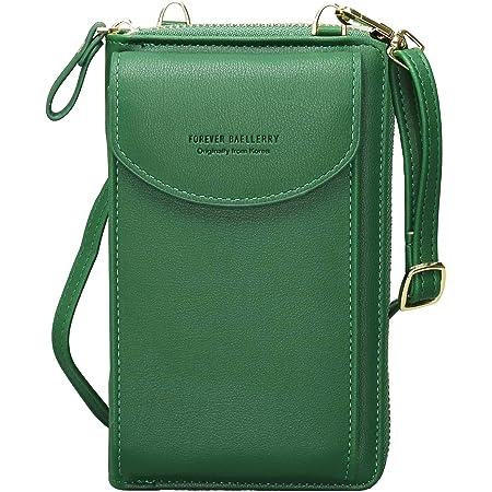 Crossbody Tasche Handytasche Brieftasche Damen Umhängetasche Geldbörse mit Credit Card Slots für Frauen (Gras-Grün)