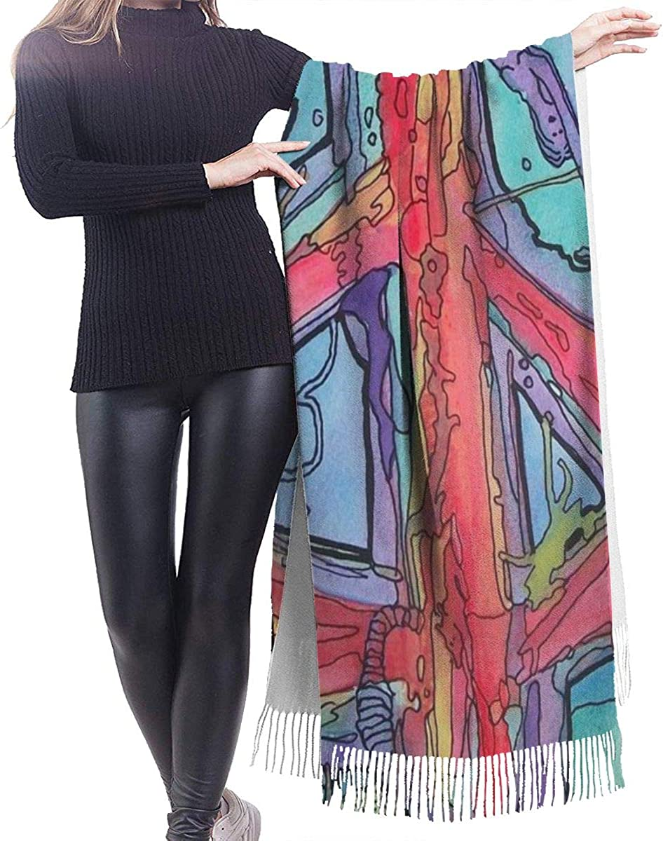 Peace Symbols Cashmere Shawl Wrap Scarf Large Warm Scarf For Women