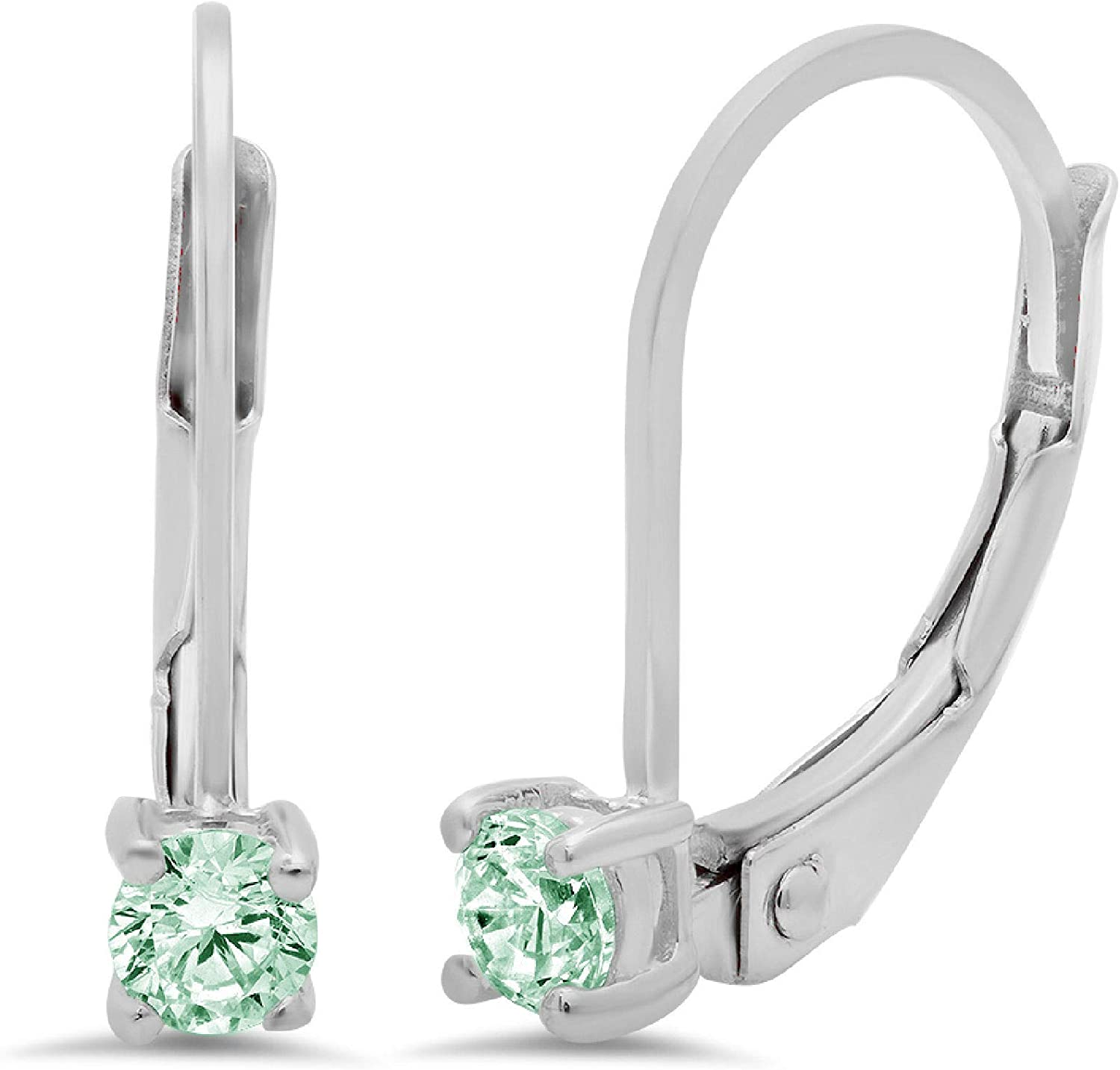 Clara Pucci 0.20 ct Brilliant Round Cut Solitaire VVS1 Flawless Green Simulated Diamond Gemstone Pair of Lever back Drop Dangle Earrings Solid 18K White Gold