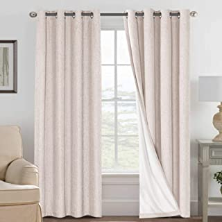 Linen Blackout Curtains 84 Inches Long 100% Absolutely Blackout Thermal Insulated Textured Linen Look Curtain Draperies An...