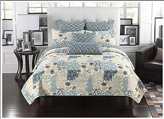Mk Collection 3pc Bedspread Coverlet Floral Modern Blue Beige 0033 (Queen)
