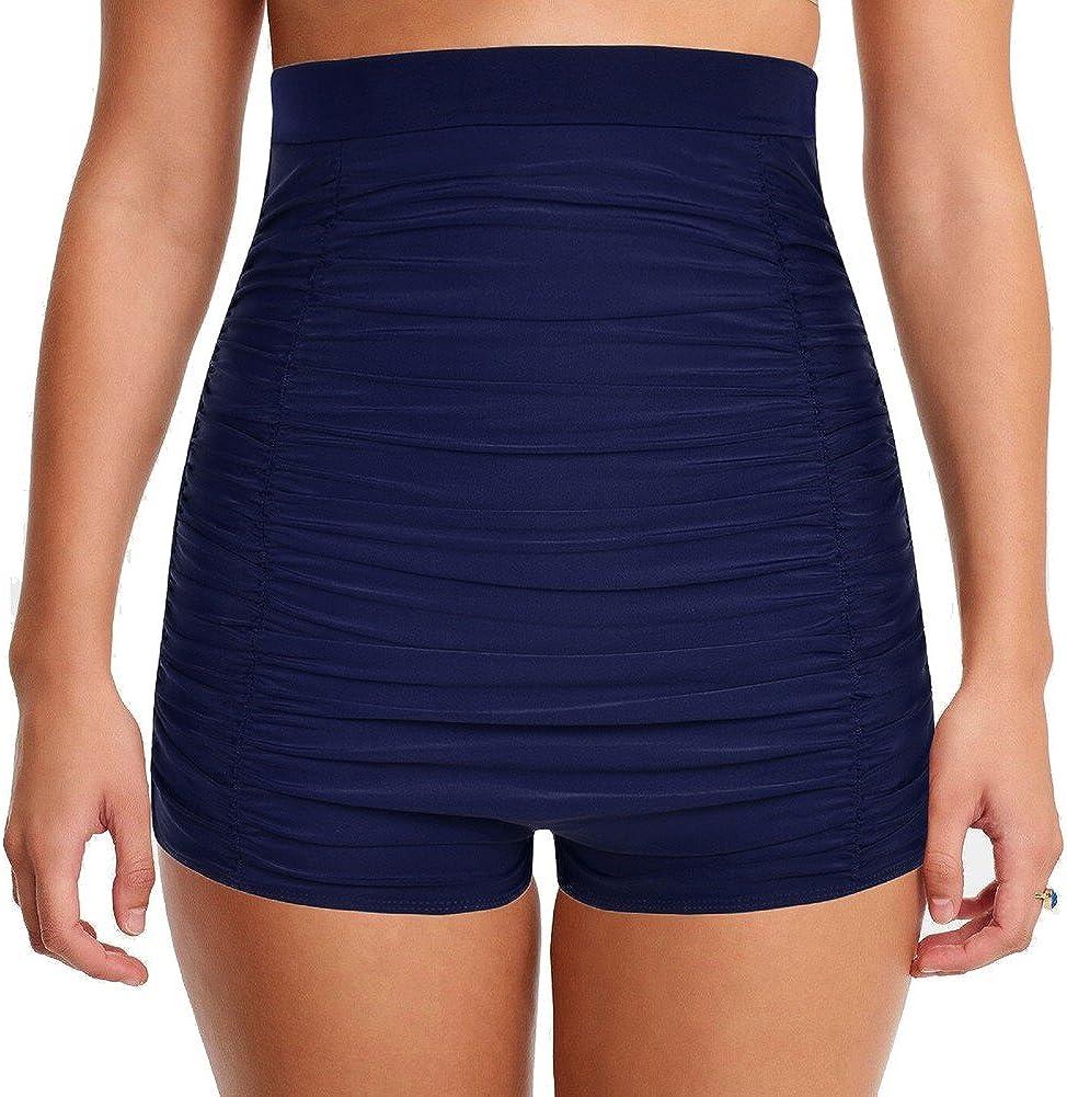 Mycoco Women's Super High Waist Swim Shorts Shirred Tummy Control Swimwear Tankini Bikini Bottoms