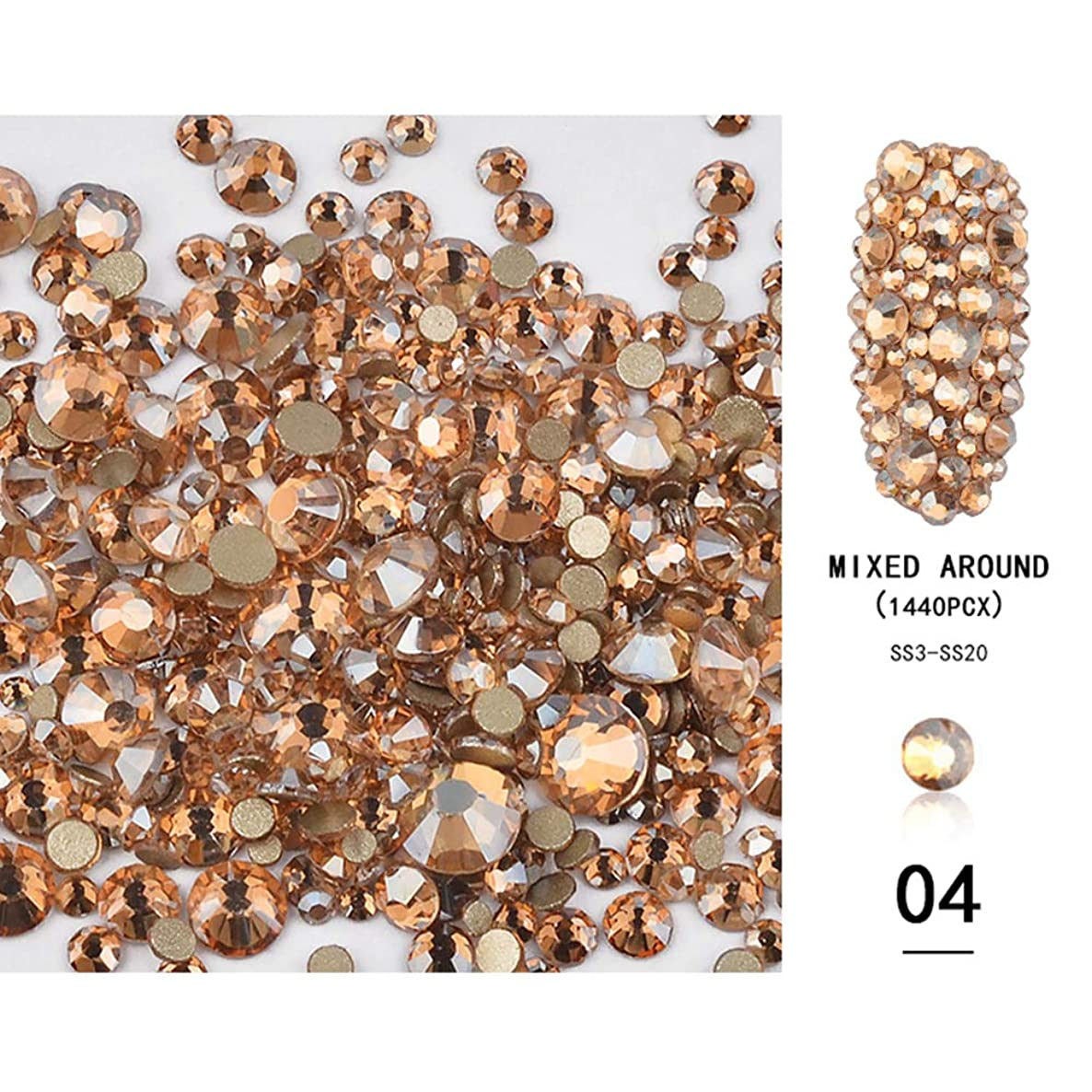 MIOBLET 1440pcs Crystals Nail Art Rhinestones Round Beads Flatback Glass Charms Gems Stones for Nails Decoration Mixed SS3 4 5 6 8 10 12 16 20