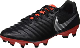 Unisex Tiempo Legend 7 Pro FG Soccer Cleats, Black/Metallic Silver/Light Crimson, 6.5 M US (Mens) 8 M US (Womens)