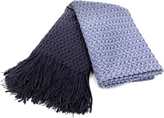 Super Soft Navy Blue Cable Knit Throw Blanket Sofa Couch Chair Bed, Lightweight Warm Travel Blanket Lap Throw, Cashmere-like Soft and Cozy, Delicate Weave Pattern Decorative Long Fringe, 50