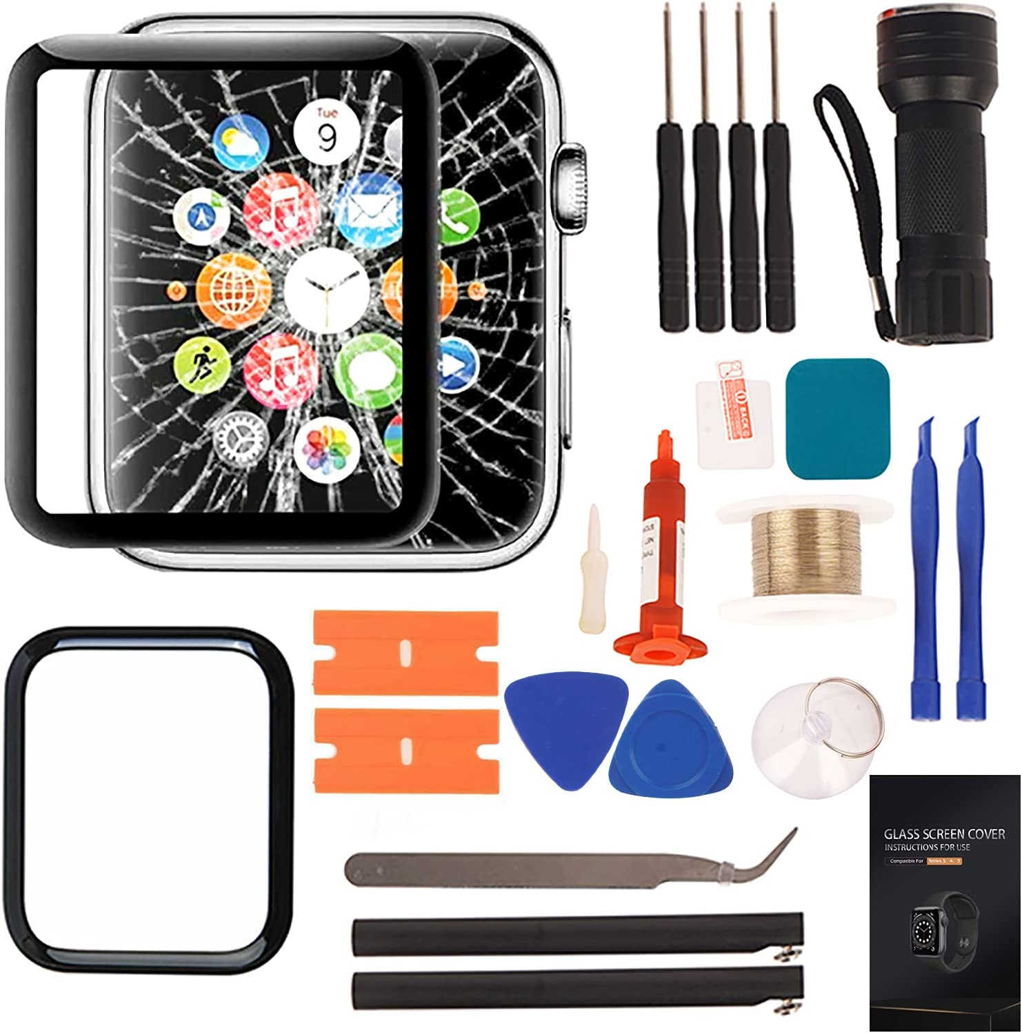Compatible with Apple Watch 4 Screen Replacement - Front LCD Glass Lens Replacement Repair Kit & Compatible with Apple Watch Series 4 40mm Glass Replacement(No LCD Screen and Touch Digitizer)