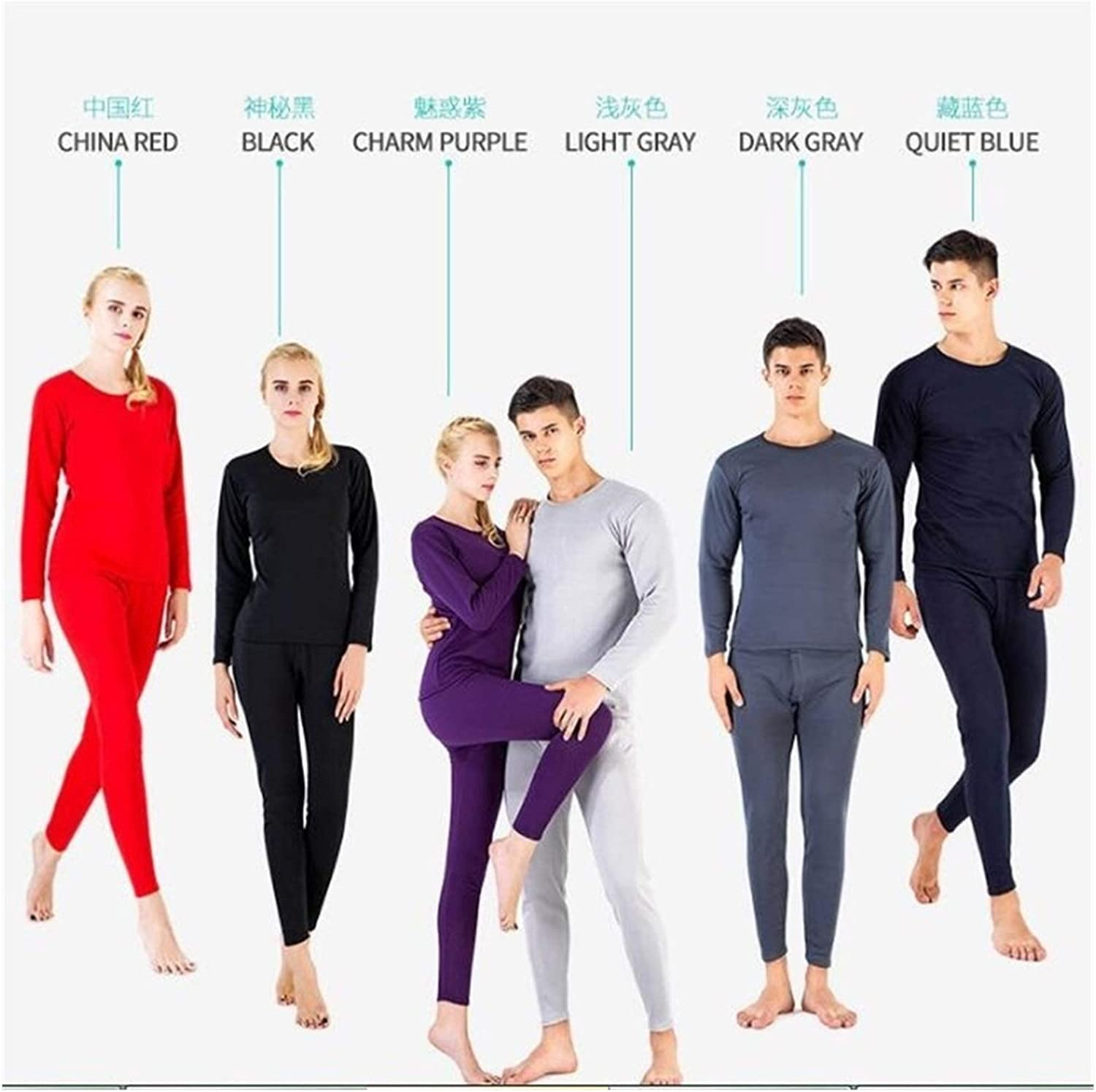 QWERBAM Winter Thick Women Thermal Underwear for Men Warm Layered Clothing Pajamas Thermos Men Second Thermal (Color : Long Johns menDark Grey, Size : L.)