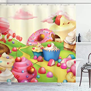 Ambesonne Modern Shower Curtain, Yummy Donuts Land Cupcakes Ice Cream Cotton Candy Clouds Kids Nursery Design, Cloth Fabric Bathroom Decor Set with Hooks, 70