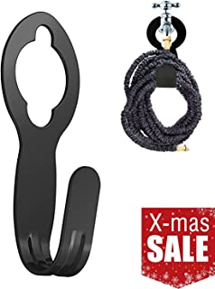 chic style Garden Hose Holder, Metal Garden Hose Carrier Cast Iron Black (Large)