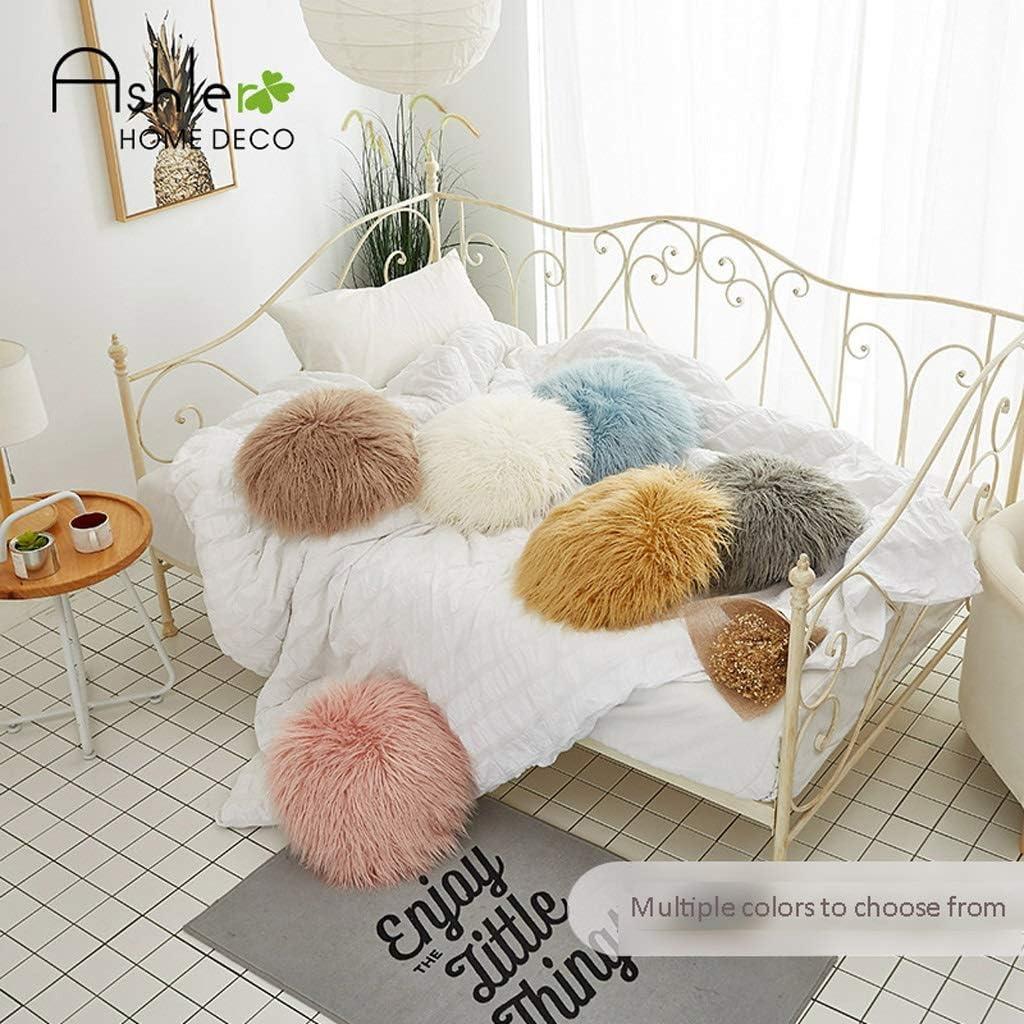 Zacht speelgoed Ball Kussen Pluchen speelgoed Solid Color Pillow Bed Living Room Super Soft Rond Kleur Pillow Sofa Large Kussen Knuffel kussen (Color : A5) A3